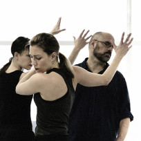 Karissa Barry, Hilary Maxwell, and Serge Bennathan in 'Just Words'. Photo by Michael Slobodian.